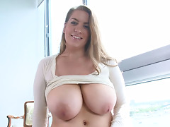 Fat porky Kali West flashes her huge boobs and rubs her pussy