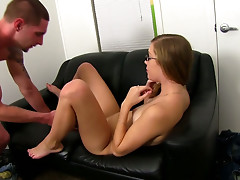 A newbie Amber sucks the dick and gets her tight pussy eaten on a casting