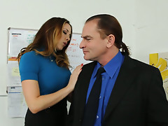 Sexy company manager Chanel Preston seduces financial agent