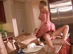 Horny milf housewife Brenda James gets thrusted hard in a kitchen