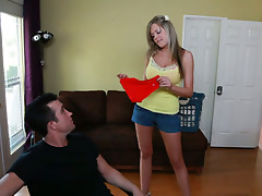Busty blonde cocksucker Darcy Tyler giving a head